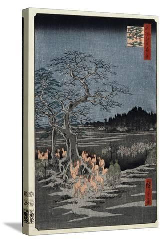 New Year's Eve Foxfires at the Nettle Tree, Oji', from the Series, 'One Hundred Famous Views of Edo-Utagawa Hiroshige-Stretched Canvas Print