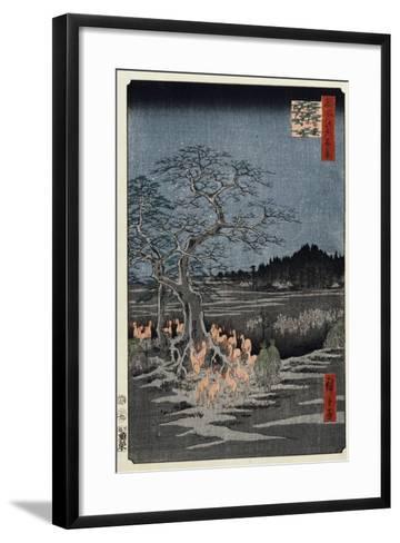 New Year's Eve Foxfires at the Nettle Tree, Oji', from the Series, 'One Hundred Famous Views of Edo-Utagawa Hiroshige-Framed Art Print