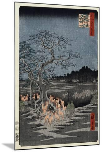 New Year's Eve Foxfires at the Nettle Tree, Oji', from the Series, 'One Hundred Famous Views of Edo-Utagawa Hiroshige-Mounted Giclee Print