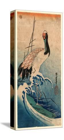 Nami Ni Tsuru, Crane in Waves. [Between 1833 and 1835], 1 Print : Woodcut, Color ; 37.4 X 16.5-Utagawa Hiroshige-Stretched Canvas Print