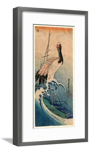 Nami Ni Tsuru, Crane in Waves. [Between 1833 and 1835], 1 Print : Woodcut, Color ; 37.4 X 16.5-Utagawa Hiroshige-Framed Art Print