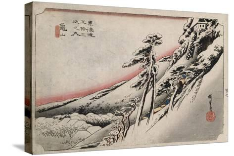 Clear Weather after Snow, Kameyama', from the Series 'The Fifty-Three Stations of the Tokaido'-Utagawa Hiroshige-Stretched Canvas Print