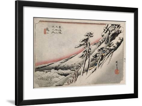 Clear Weather after Snow, Kameyama', from the Series 'The Fifty-Three Stations of the Tokaido'-Utagawa Hiroshige-Framed Art Print