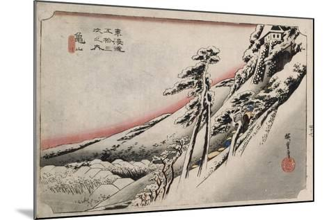 Clear Weather after Snow, Kameyama', from the Series 'The Fifty-Three Stations of the Tokaido'-Utagawa Hiroshige-Mounted Giclee Print