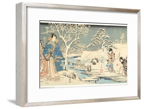 An Eastern Genji in a Snowy Garden, 1854-Utagawa Hiroshige & Kunisada-Framed Art Print
