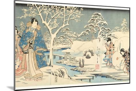An Eastern Genji in a Snowy Garden, 1854-Utagawa Hiroshige & Kunisada-Mounted Giclee Print