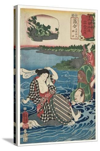 Ochiai: Kume Sennin and the Laundress, 1852-Utagawa Kuniyoshi-Stretched Canvas Print
