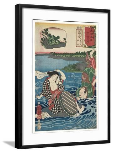Ochiai: Kume Sennin and the Laundress, 1852-Utagawa Kuniyoshi-Framed Art Print
