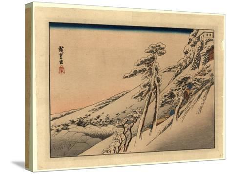 Pilgrims Ascending Snow-Covered Hillside Toward Temple at Summit-Utagawa Hiroshige-Stretched Canvas Print