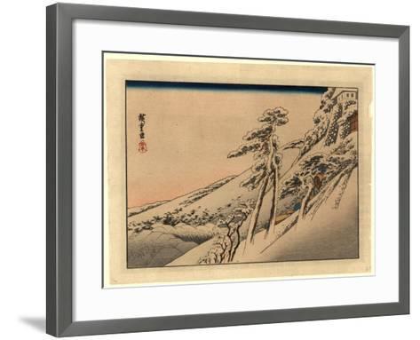 Pilgrims Ascending Snow-Covered Hillside Toward Temple at Summit-Utagawa Hiroshige-Framed Art Print