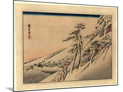 Pilgrims Ascending Snow-Covered Hillside Toward Temple at Summit-Utagawa Hiroshige-Mounted Giclee Print