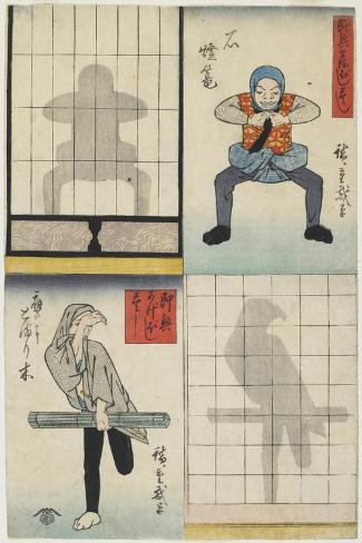 Shadow Figures of a Lantern and a Hawk, C. 1842-Utagawa Hiroshige-Stretched Canvas Print