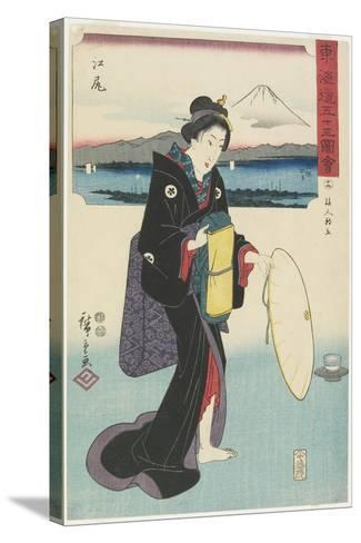 No.19: Ejiri, 1847-1852-Utagawa Hiroshige-Stretched Canvas Print