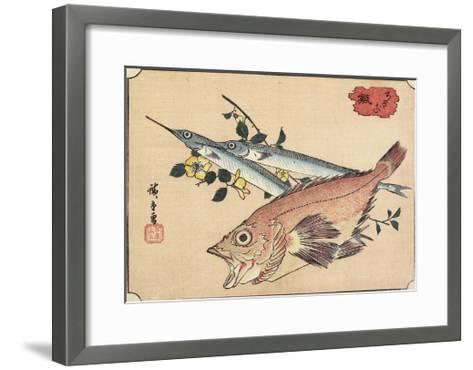 Rockfish and Halfbeak, Early 19th Century-Utagawa Hiroshige-Framed Art Print