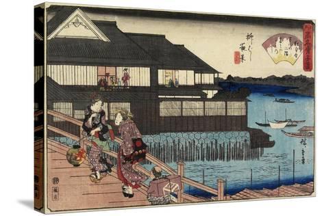 Night Scene on Yanagi-Bashi Bridge and Restaurant Manhachi, C. 1835-1842-Utagawa Hiroshige-Stretched Canvas Print