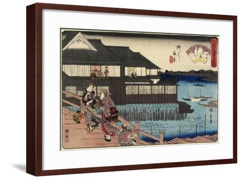 Night Scene on Yanagi-Bashi Bridge and Restaurant Manhachi, C. 1835-1842-Utagawa Hiroshige-Framed Art Print