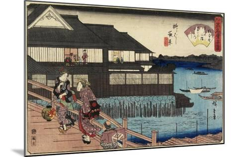 Night Scene on Yanagi-Bashi Bridge and Restaurant Manhachi, C. 1835-1842-Utagawa Hiroshige-Mounted Giclee Print