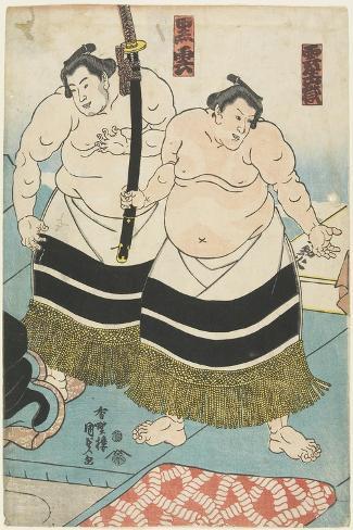 The Wrestlers Unjodake and Kurokumo, 1843-1847-Utagawa Kunisada-Stretched Canvas Print