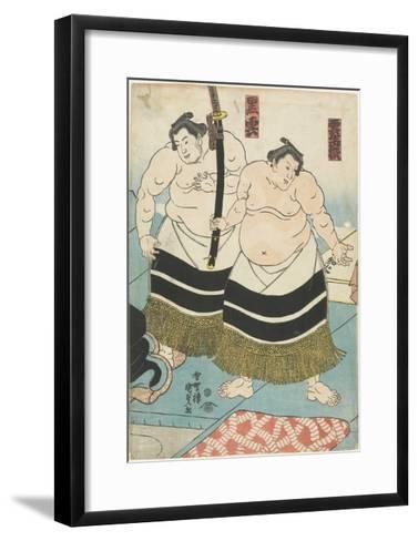 The Wrestlers Unjodake and Kurokumo, 1843-1847-Utagawa Kunisada-Framed Art Print