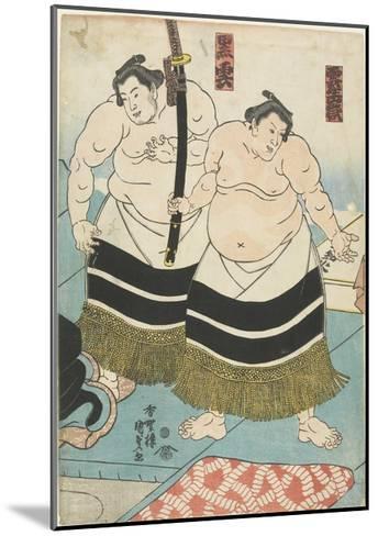 The Wrestlers Unjodake and Kurokumo, 1843-1847-Utagawa Kunisada-Mounted Giclee Print