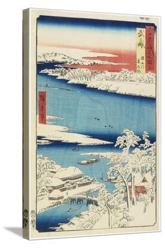 Morning after Snow at Sumida River in Musashi Province, August 1853-Utagawa Hiroshige-Stretched Canvas Print