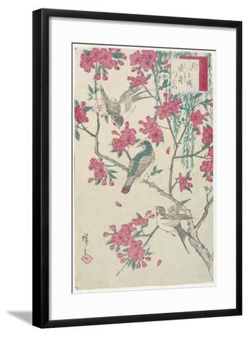 Willow, Cherry Blossoms, Sparrows and Swallow, Early 19th Century-Utagawa Hiroshige-Framed Art Print