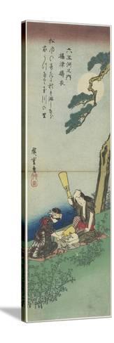 Mar-21-1980: Pounding Silk in Settsu Province, 1830-1844-Utagawa Hiroshige-Stretched Canvas Print