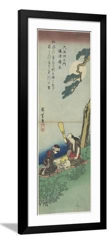 Mar-21-1980: Pounding Silk in Settsu Province, 1830-1844-Utagawa Hiroshige-Framed Art Print