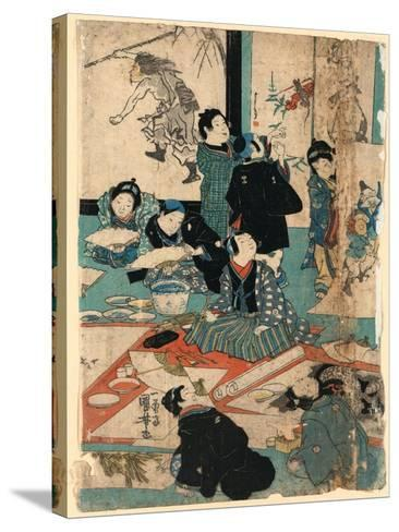 E O Narau Kodomo Tachi, Children in a Painting Class-Utagawa Kuniyoshi-Stretched Canvas Print