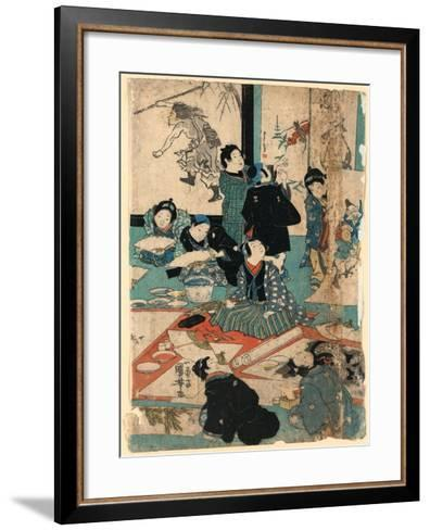 E O Narau Kodomo Tachi, Children in a Painting Class-Utagawa Kuniyoshi-Framed Art Print