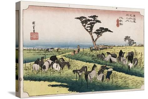The Horse Market in the Fourth Month at Chiryu'-Utagawa Hiroshige-Stretched Canvas Print