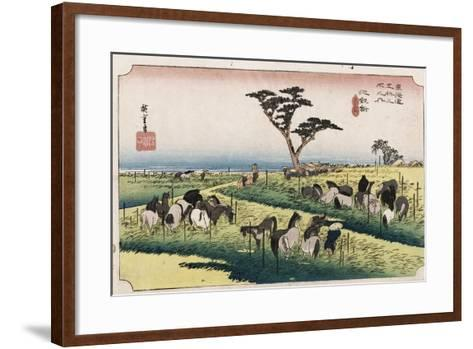 The Horse Market in the Fourth Month at Chiryu'-Utagawa Hiroshige-Framed Art Print