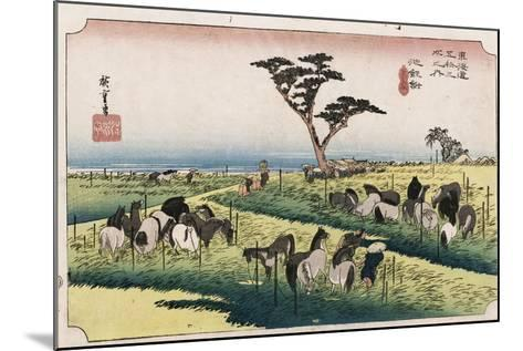 The Horse Market in the Fourth Month at Chiryu'-Utagawa Hiroshige-Mounted Giclee Print