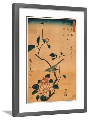 Tsubaki Ni Uguisu-Utagawa Hiroshige-Framed Art Print