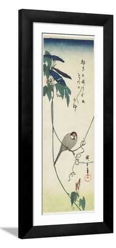 Java Sparrow and Morning Glories, 1834-1839-Utagawa Hiroshige-Framed Art Print