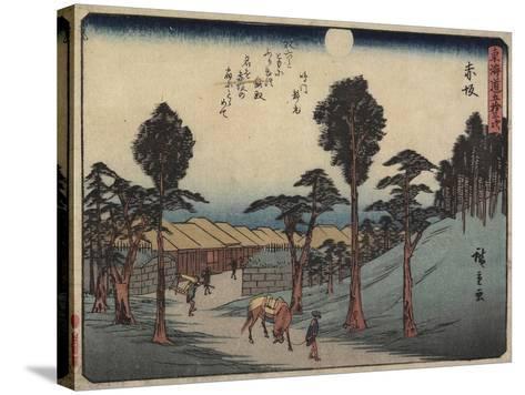 Akasaka, 1837-1844-Utagawa Hiroshige-Stretched Canvas Print