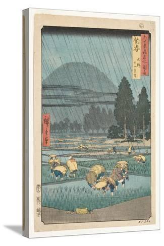 Hoki Province, Ono, Distant View of Mount Daisen, 1853-Utagawa Hiroshige-Stretched Canvas Print