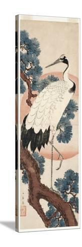 Crane in Pine Tree at Sunrise, 1850-55-Utagawa Hiroshige-Stretched Canvas Print