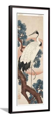 Crane in Pine Tree at Sunrise, 1850-55-Utagawa Hiroshige-Framed Art Print