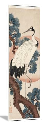 Crane in Pine Tree at Sunrise, 1850-55-Utagawa Hiroshige-Mounted Giclee Print