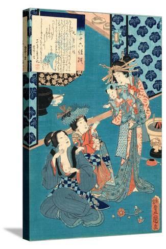Kokonoe No Hanashi, Tale of the Courtesan Kokonoe. 1860., 1 Print : Woodcut, Color ; 36.8 X 24.9-Utagawa Toyokuni-Stretched Canvas Print