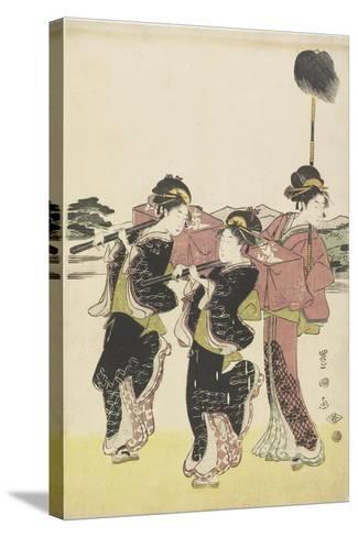 Oiran (High-Class Courtesan) Travelling as a Mitate of Daimyo Procession, 18th-19th Century-Utagawa Toyokuni-Stretched Canvas Print
