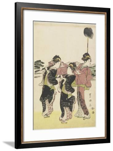 Oiran (High-Class Courtesan) Travelling as a Mitate of Daimyo Procession, 18th-19th Century-Utagawa Toyokuni-Framed Art Print
