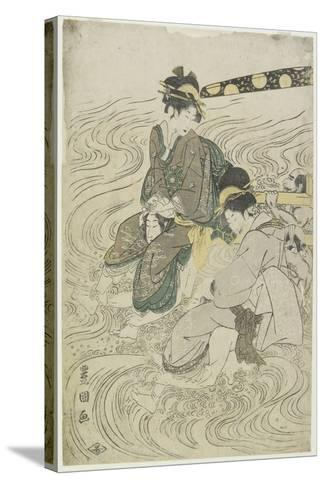 Two Women Crossing a River on the Shoulders of Coolies-Utagawa Toyokuni-Stretched Canvas Print