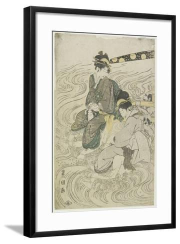 Two Women Crossing a River on the Shoulders of Coolies-Utagawa Toyokuni-Framed Art Print