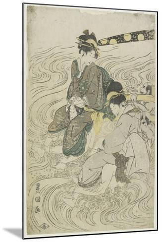 Two Women Crossing a River on the Shoulders of Coolies-Utagawa Toyokuni-Mounted Giclee Print