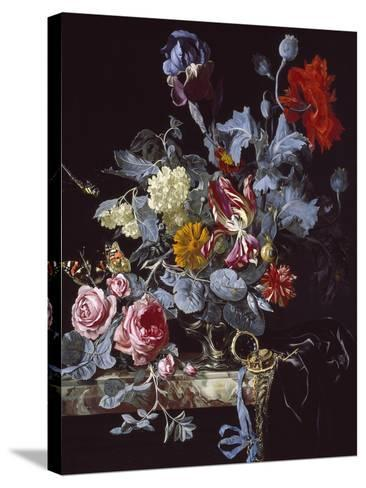 A Vase of Flowers with a Watch-Willem van Aelst-Stretched Canvas Print