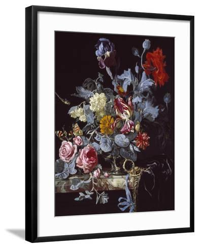 A Vase of Flowers with a Watch-Willem van Aelst-Framed Art Print