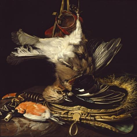 Still Life with a Dead Jay-Willem van Aelst-Stretched Canvas Print