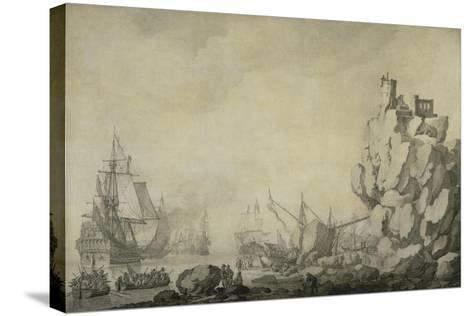 Ships and Militia by a Rocky Shore, C.1680 (Pen and Ink on Prepared Canvas)-Willem Van De Velde the Elder-Stretched Canvas Print